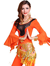 Belly Dance Outfits Women's Training Tulle / Milk Fiber Draped 3 Pieces Green / Orange / Burgundy
