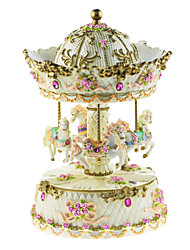 Pottery Pink/White/Yellow Creative Romantic Music Box for Gift