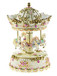 Keramik pink / weiß / gelb kreative romantische Musik-Box für Geschenk