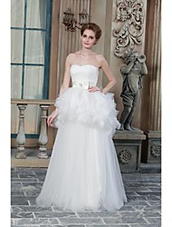 A-line Wedding Dress Floor-length Sweetheart Satin with Appliques / Button