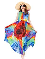 2016 Summer New Women's Bohemian Beach Chiffon Print Dress
