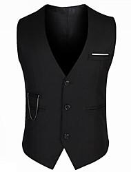 Men's Sleeveless Regular Blazer,Cotton / Acrylic / Polyester Solid 916197