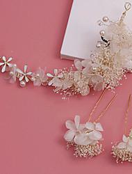Mulheres Imitação de Pérola Tecido Capacete-Casamento Ocasião Especial Ao ar Livre Bandanas Flores 2 Peças
