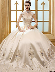 A-line Wedding Dress-Ivory / Champagne Floor-length High Neck Satin