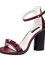 Women's Summer PU Casual Chunky Heel Black Pink Gray Burgundy
