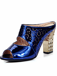 Women's Shoes Patent Leather Chunky Heel / Peep Toe Sandals Wedding / Party & Evening / Dress Blue / Pink / Silver