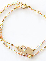 European Style Fashion Rhinestone Lucky  Elephant Golden Beads Chain Anklets