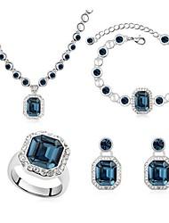Schmuck-Set Damen Alltag Schmuck-Set Legierung Kristall Armbänder / Ringe / Ohrringe / Halsketten Weiß