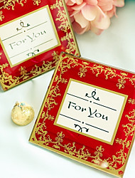 """Timeless Traditions"" Imperial Red & Gold Glass Photo Coasters (1pcs)"