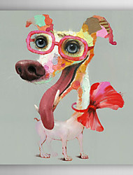 Hand Painted Oil Painting Animal Fashion Pink Dog with Stretched Frame