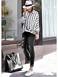 Women's Holiday Street chic Shirt,Striped Shirt Collar Long Sleeve White / Black Polyester Thin