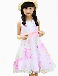 Vestido Chica de-Verano-Poliéster-Rosa