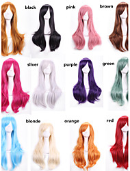 70 Cm Harajuku Anime Colorful Cosplay Wigs Young Long Curly Synthetic Hair Wig Blonde Wigs For Halloween Costume