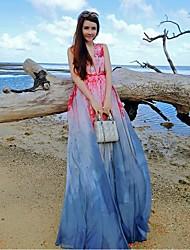 Women's Beach Boho Swing Dress,Floral V Neck Maxi Sleeveless Blue Silk / Polyester Summer