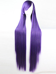 Europe And The United States The New Color Wig 100 CM High Temperature Silk Purple Long Straight Hair Wigs