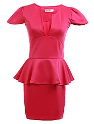 Женский Секси / Офисный Оболочка Однотонный Платье , Выше колена Глубокий V-образный вырез Смесь хлопка