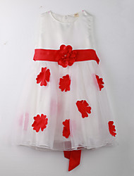 Robe Fille de Points Polka Coton Eté Rouge