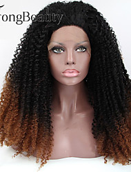 Synthetic Glueless Lace Front Wig Dark Root Ombre Lace Front Wig Long Cruly Wigs for Women