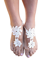Women's Fashion Flowers Crochet Cobweb Pattern Simple Ankle Barefoot Sandals Christmas Gifts