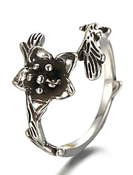 Antique Silver Vintage Style Flower Open Band Midi Ring for Men/Women Jewelry