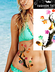 5Pcs  Waterproof Flower Bird Watercolor Desig  Body  Arm Art Temporary Tattoo Sticker