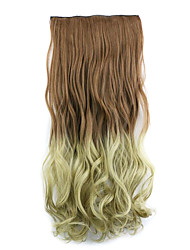 Dark Brown and Flaxen Length 60CM Synthetic Gradient Five Card Hair Long Straight Hair Wig(Color 30PT24)