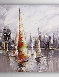 Hand Painted Oil Painting Landscape Ship Near Harbour II with Stretched Frame 7 Wall Arts®