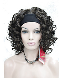 nouveau brun de mode 3/4 perruque avec court bouclés perruque moitié synthétique bandeau femmes