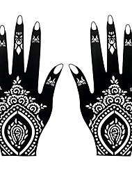 2pcs Fake Black Body Hand Art Temporary Henna Airbrush Painting Tattoo Sticker Stencil S106