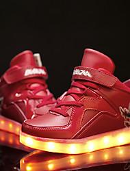 Jungen-Sneaker-Lässig-Leder-Flacher Absatz-Neuheit Light Up Schuhe-Schwarz Blau Rot Weiß