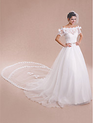Women's Wrap Shrugs Short Sleeve Lace Tulle Ivory Wedding Party/Evening Bateau Bow Lace Lace-up