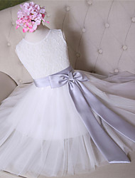 AMGAM A-line Knee-length Flower Girl Dress - Lace Tulle Jewel with Bow(s) Sash / Ribbon