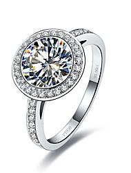 Массивные кольца Имитация Алмазный Стерлинговое серебро Имитация Алмазный Мода Винтаж Серебряный Бижутерия Свадьба 1шт