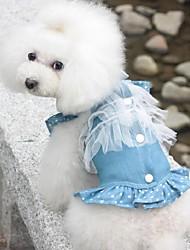 Hunde Kleider Dunkelblau / Hellblau Hundekleidung Sommer / Frühling/Herbst Jeans Lässig/Alltäglich