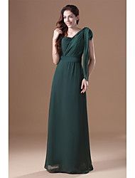 Sheath / Column Mother of the Bride Dress Floor-length Chiffon with Sash / Ribbon / Pleats