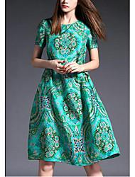 De las mujeres Línea A Vestido Noche / Tallas Grandes Simple,Estampado Escote Redondo Sobre la rodilla Manga Corta Verde Seda Verano