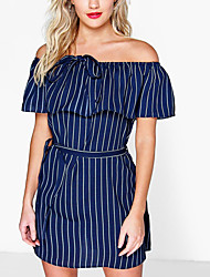 Women's Sexy Striped Bodycon Dress,Boat Neck Mini Polyester