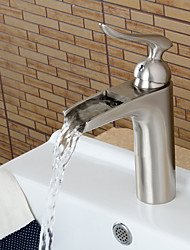 Contemporary Nickel Brushed Personalized Waterfall Bathroom Sink Faucet