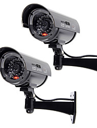 KingNEO 2pcs Outdoor Dummy Camera Simulated Security Surveillance black