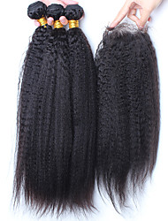 Trama do cabelo com Encerramento Cabelo Malaio Retas 12 meses 4 Peças tece cabelo