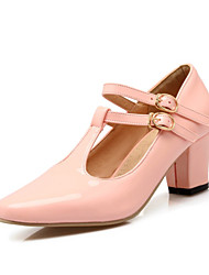 Women's Shoes Patent Leather Spring / Summer / Fall Heels Heels Wedding / Casual Chunky Heel BuckleBlue / Pink