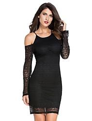 Women's  Lace Cut out Shoulder Bodycon Dress
