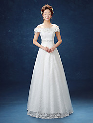A-line Wedding Dress Floor-length Off-the-shoulder Lace / Satin with Appliques / Lace