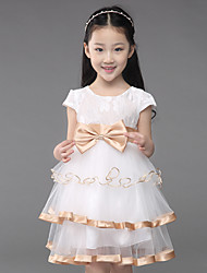 A-line Knee-length Flower Girl Dress-Cotton / Lace / Tulle Short Sleeve