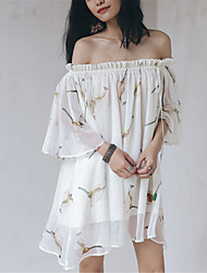SINCE THEN  Women's Sexy / Boho Floral Swing Dress,Boat Neck Above Knee Polyester