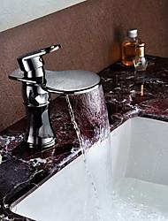 Modern Chrome Basin Faucet Waterfall Spout Vessel Sink Mixer Single Handle Deck Mount