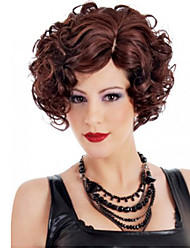 12 inch Women Short Body Wave Synthetic Hair Wig Fuxia Red Wine with Free Hair Net