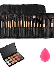 24pcs Wood Handle Makeup Brushes+Small Makeup Sponge+15 Colors Concealer Palette