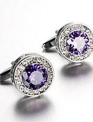 Unisex Fashion Purple Crystal Silver Alloy French Shirt Cufflinks (1-Pair)