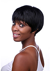 Short Length Straight Hair European Weave Black Color Synthetic Wig